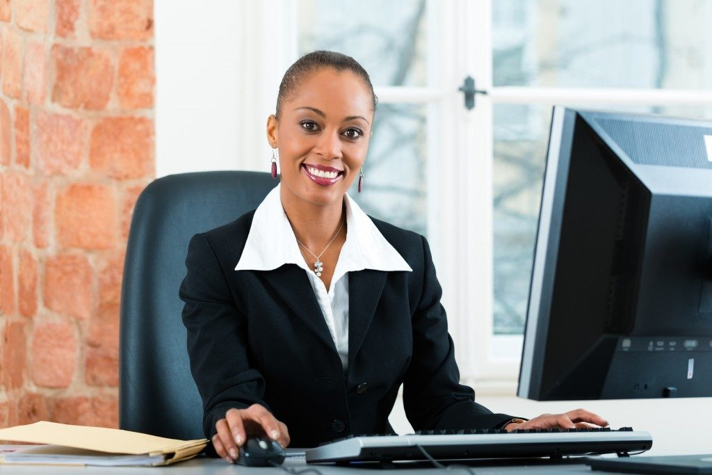 female lawyer working in her office on a Computer