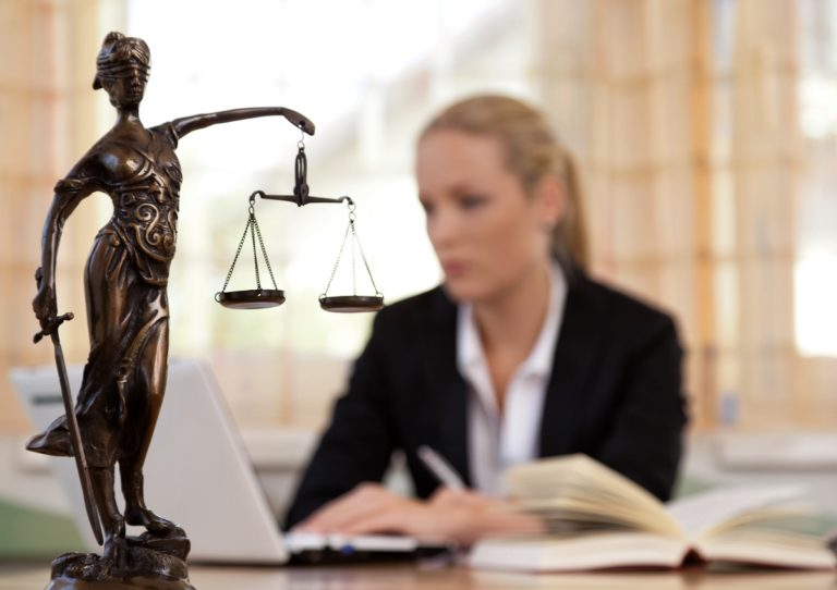 trial lawyer at the office